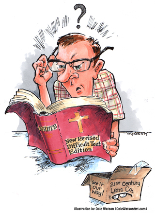 Man reading Bible (cartoon)