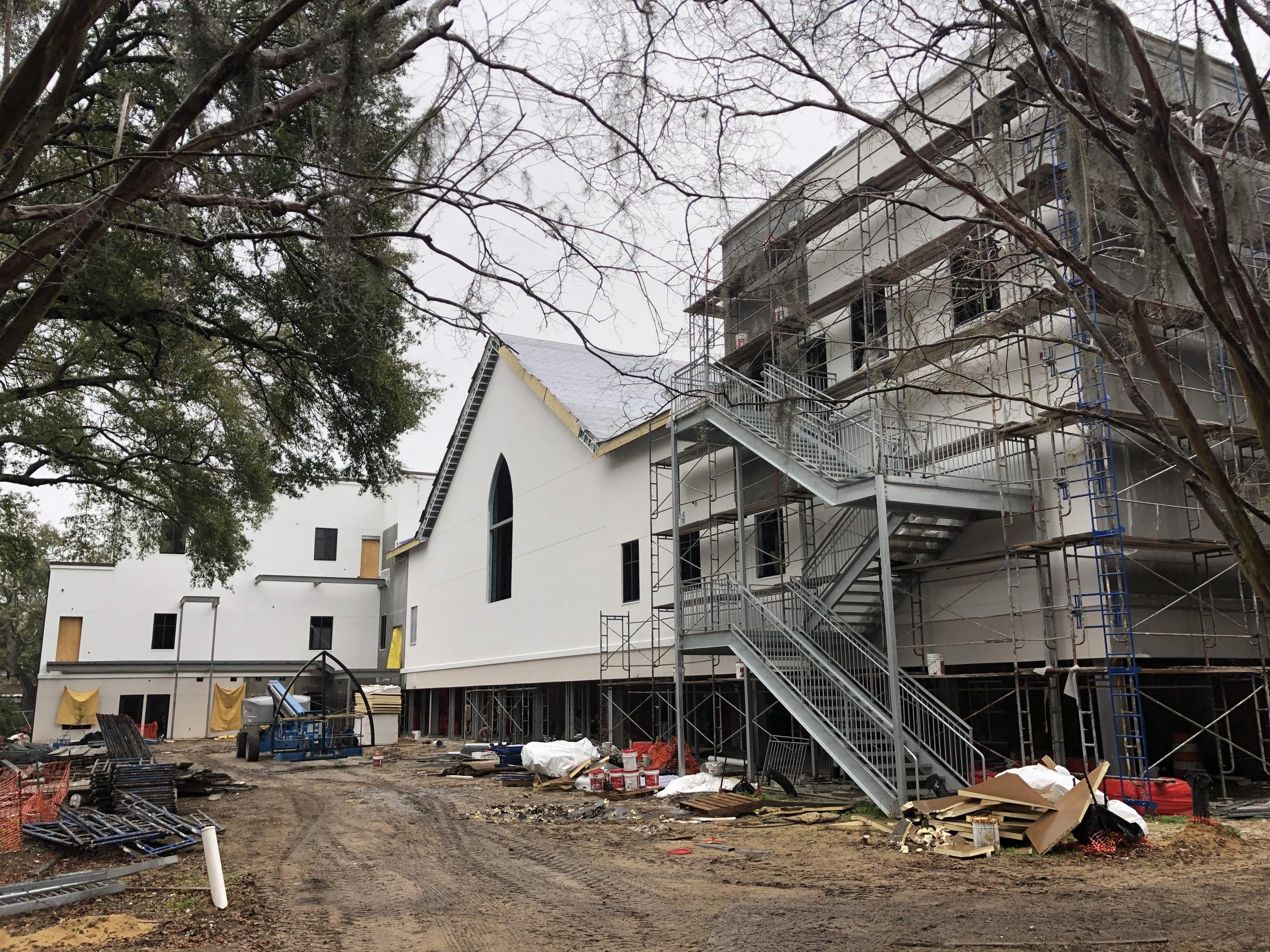 The back of the Ministry Center almost completed