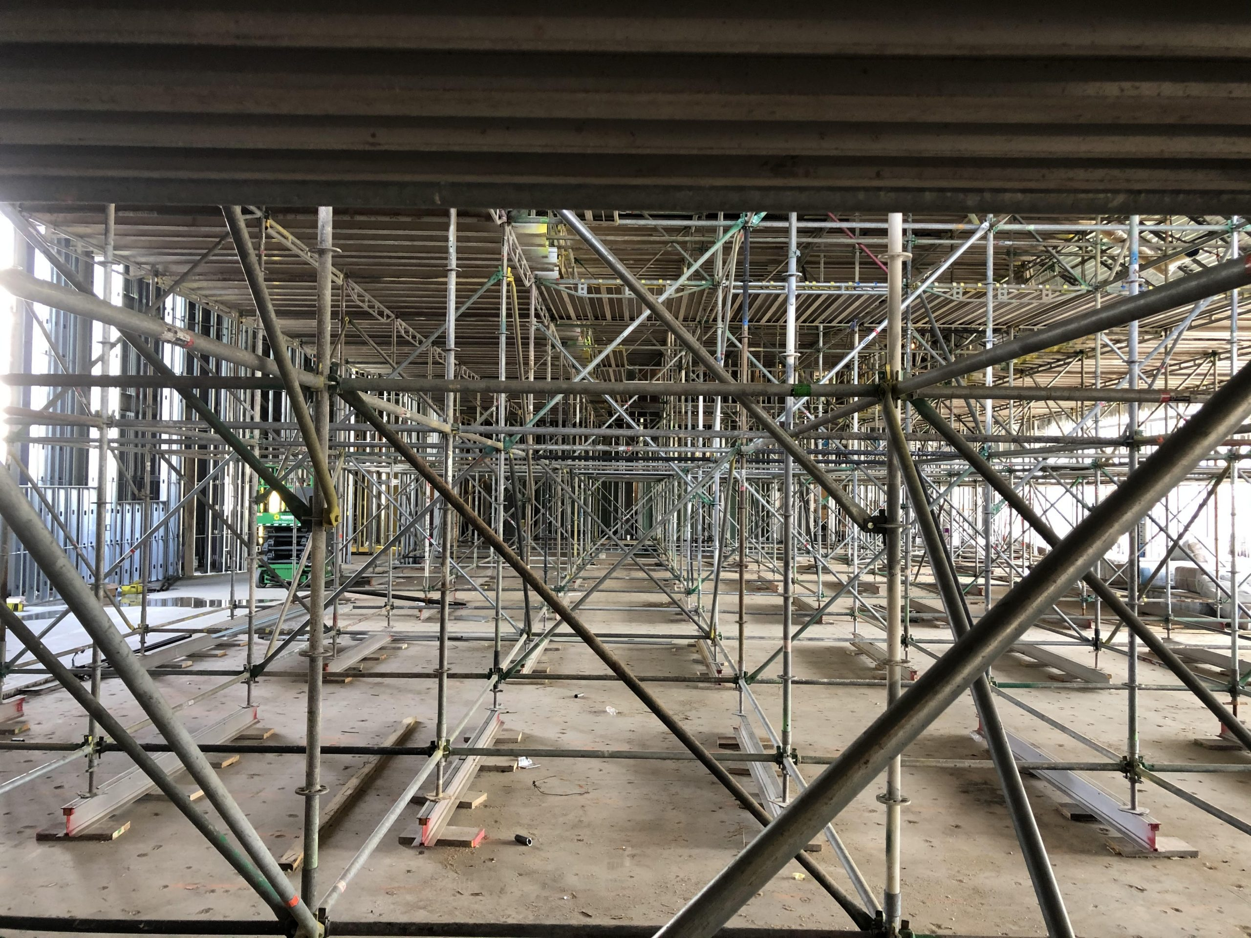 The inside of the Ministry Center filled with scaffolding